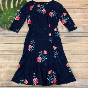 Eliza J floral embroidered lace 3/4 sleeve dress